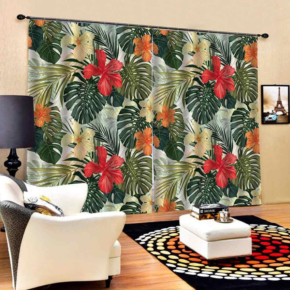 large flower 3D Curtain Luxury Blackout Window Curtain Living Room green leaf curtains `Decoration curtains