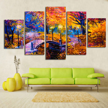 Modern Canvas Pictures HD Printed Wall Art Frame 5 Pieces Wooden Bridge Woods Landscape Living Room Home Decor Paintings Posters
