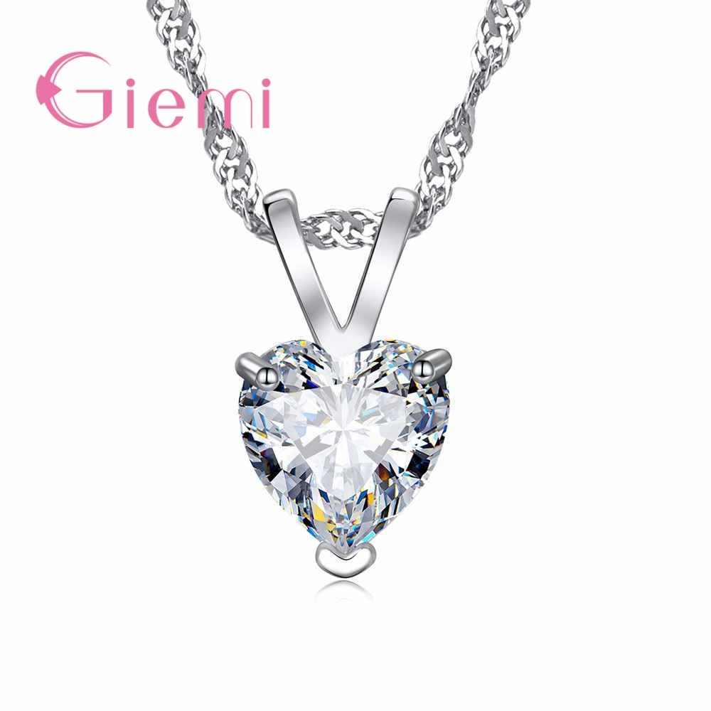 Trendi Romantis Desain Baru 925 Sterling Perak Kalung Liontin Super Mengkilap Kristal Cubic Zirconia untuk Wanita Pacar