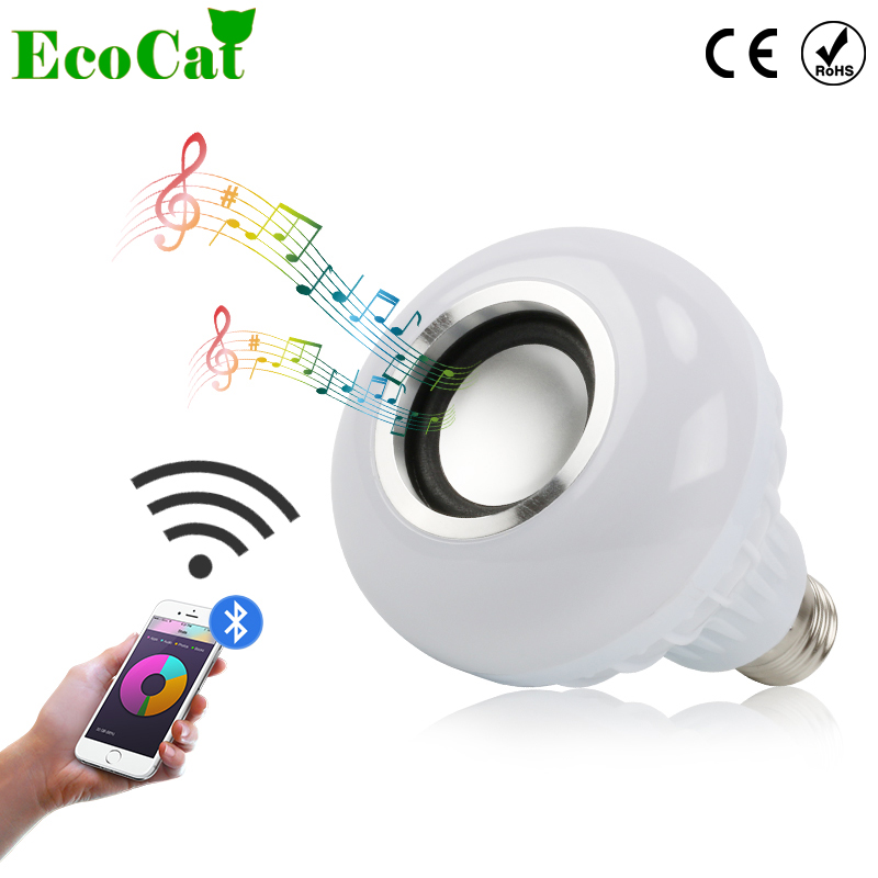 [ECO Cat] LED Bulb E27 Smart RGB Wireless Bluetooth Speaker Music Playing Dimmable Festival led lamp