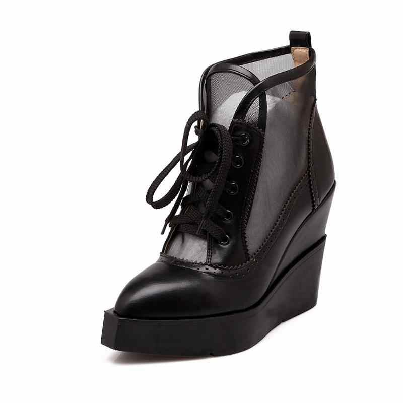 ASUMER 2020 ใหม่รองเท้าส้นสูงรองเท้า Lace Up เซ็กซี่ตัดตาข่ายแพลตฟอร์มรองเท้าผู้หญิงหนาฤดูร้อนรองเท้าข้อเท้า