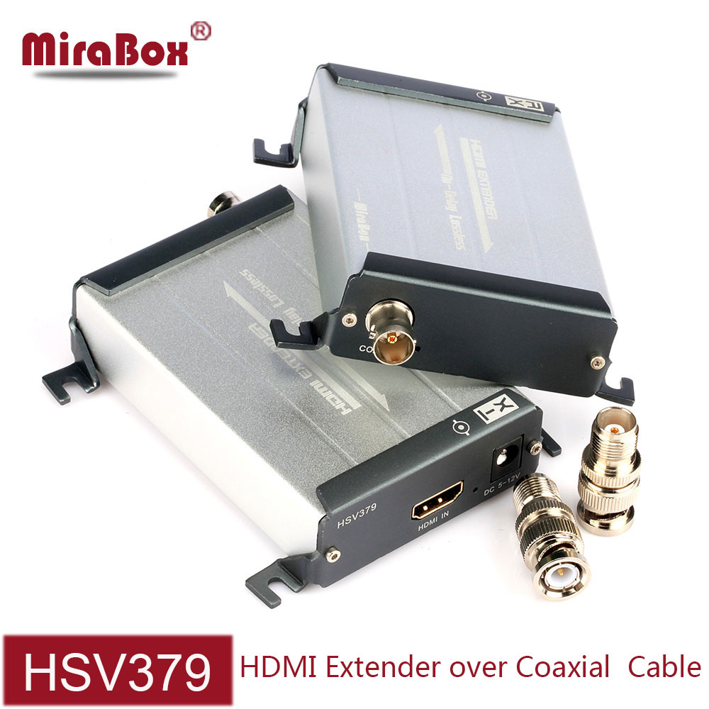 MiraBox HSV379 HDMI Coax Extender Transmit 200m Via TNC Top Coaxial Cable Support 1080p Full HD No Latency hdmi extender coaxial 80 channels hdmi to dvb t modulator hdmi extender over coaxial
