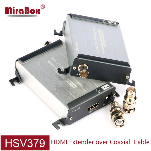 MiraBox HSV379 HDMI Coax Extender Transmit 200m Via TNC Top Coaxial Cable Support 1080p Full HD No Latency hdmi extender coaxial