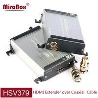 Mirabox hsv379 hdmi 동축 익스텐더 tnc 상단 동축 케이블 지원 200 m 전송 1080 p 풀 hd 대기 시간 없음 hdmi 익스텐더 동축