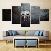 Skull Logo Modular High Quality 5pcs Canvas Oil Painting Wall Art for Room Decorations Waterproof Frameless Customized