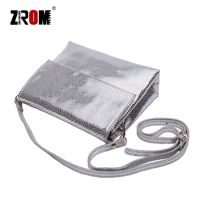 ZROM Brand Luxury Genuine Leather Shiny Serpentine Gold silver Crossbody Real Soft Cow Leather Handbags Lady Messenger Bags