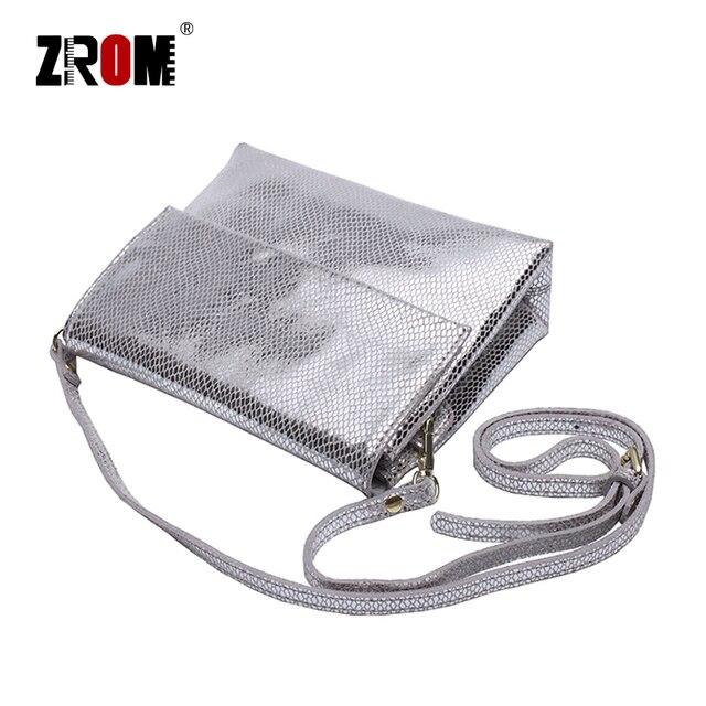 ZROM marque de luxe en cuir véritable brillant Serpentine or argent Crossbody réel doux en cuir de vache sacs à main dame Messenger sacs