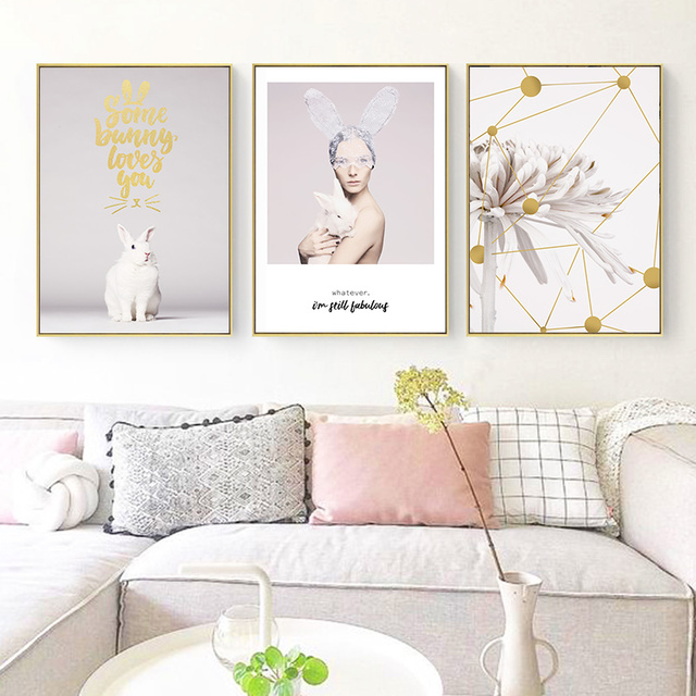 Beauty Character Pink Flower Bunny Creative English Canvas  1