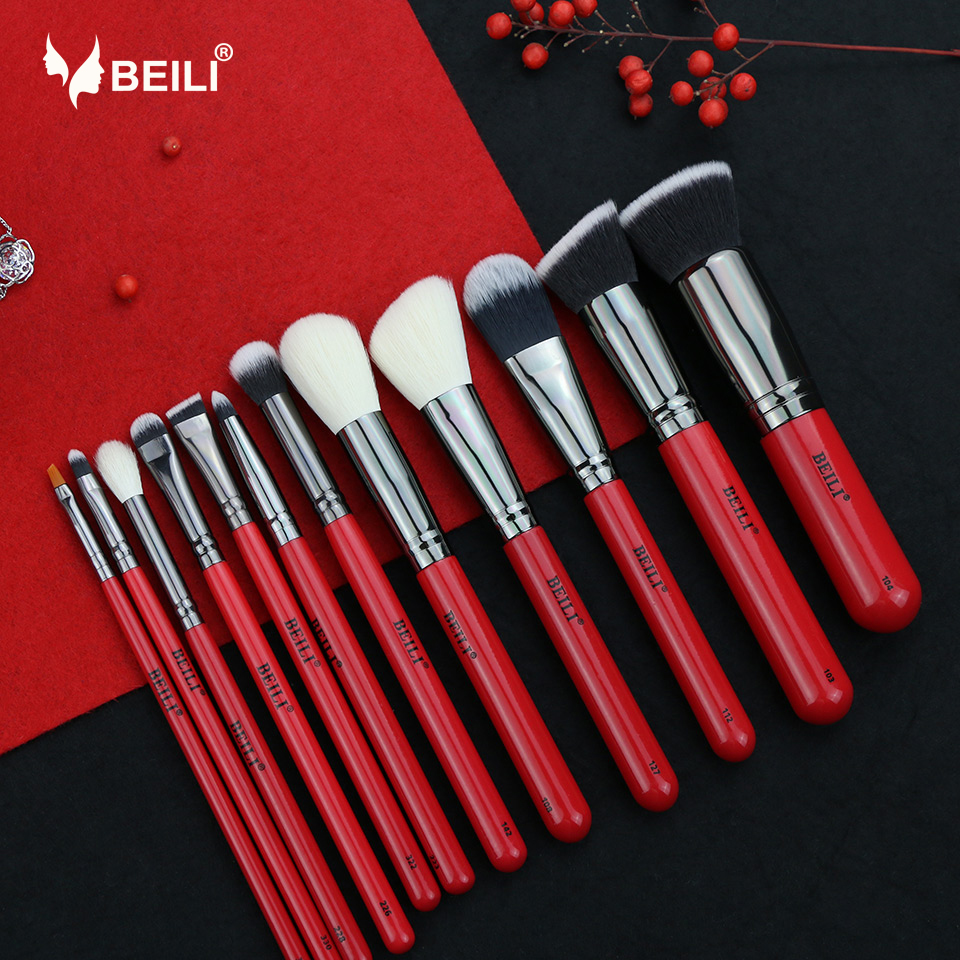 BEILI 12 pieces Red Handle Goat Hair Synthetic Powder Foundation Blusher Eye Shadow Eyebrow Eyeliner Contour MakeupBrush Set manufacturers price straight for 1064nm hair eyebrow qubanqudou nenfu opt laser probe 2 pieces
