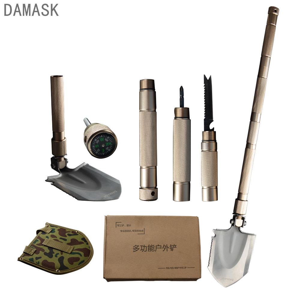 High Quality Damask Outdoor Folding Shovel Emergency Camping Spade Military Outdoor Equipment Portable Self-defense Garden Tools camping military survival shovel trowel multi function portable folding spade shovel dibble pick emergency tool equipment