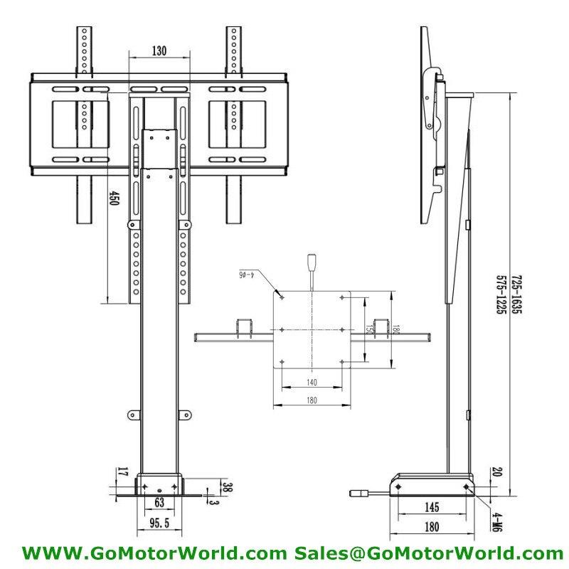 Ascenseur 80KG TV motorisé Vertical support ascenseur hauteur réglable TV montage TV ascenseur fabricant - 2