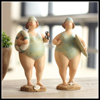 New Arrival Fat Girl Vintage Resin Crafts for Home Decoration Accessories Cute Resin Figurines Set of 2 ElimElim