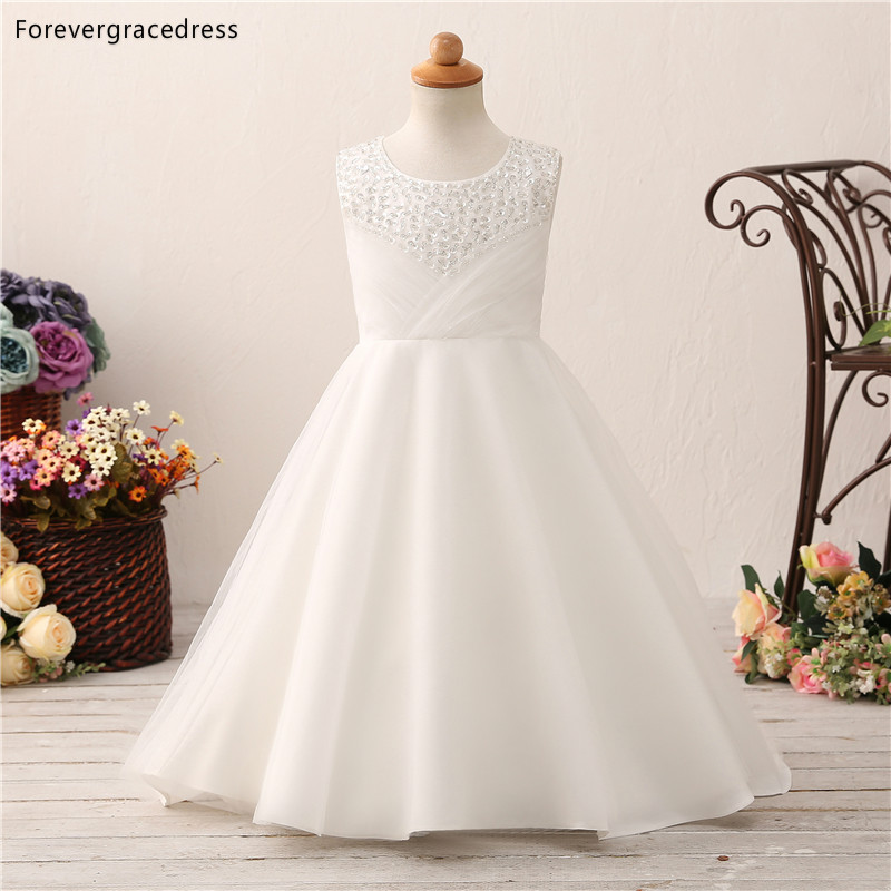 Forevergracedress White   Flower     Girls     Dresses   2019 A Line Jewel Neck Sequins Sleeveless Tulle Kids Pageant Children Gowns