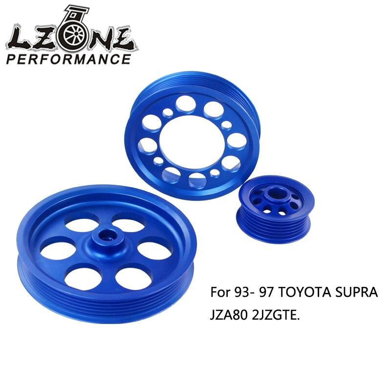 LZONE CRANK PULLEY FOR 93 97 TOYOTA SUPRA JZA80 2JZGTEUNDERDRIVE LIGHT WEIGHT CRANK PULLEY(3PCS) BLUE JR6851B