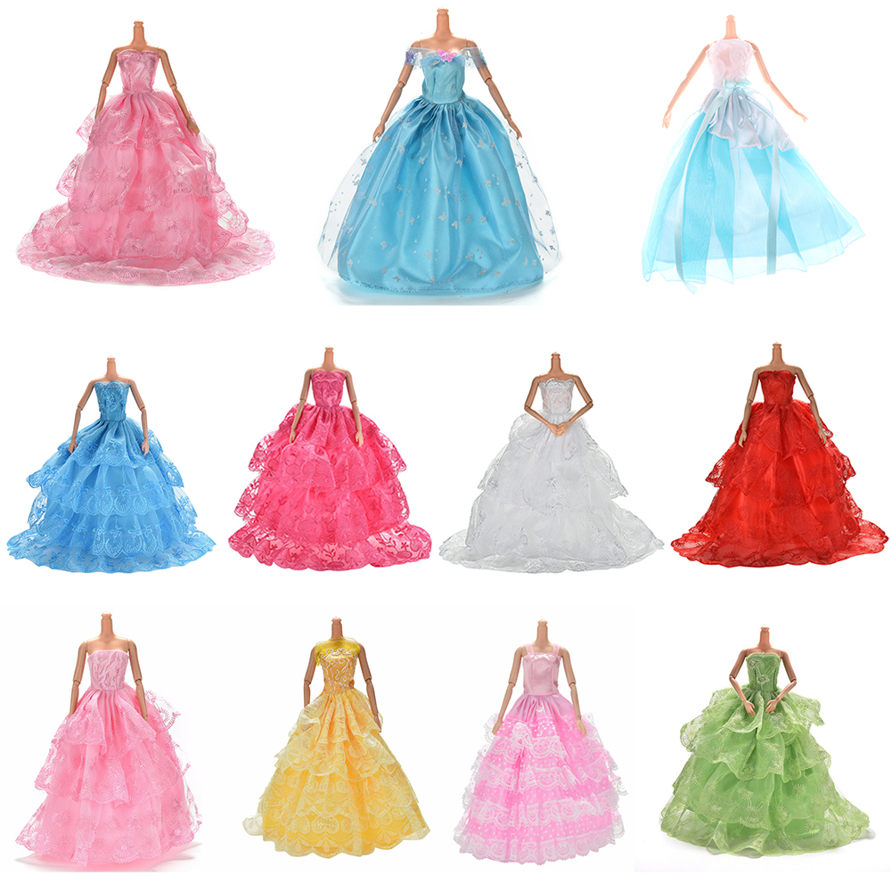 Multi Styles Handmade Princess Evening Party Dress For  Doll Elegant Lace Multi Layers Wedding Doll Luxury Doll Dress