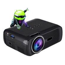 Android 6.0 Miracast Airplay Proyector 1800 Lúmenes Mini Proyector 854*480 Resolución de la Ayuda 1080 P Video para Cine en Casa-negro