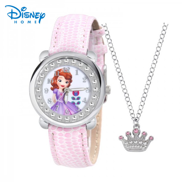 100% Genuine Disney Brand watches Frozen Sophia minnie watch with Necklace Fashion luxury watch men Girl Wrist  Watch 89807