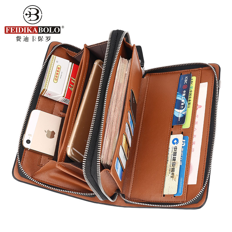 Business Men Wallet Long Designer Double Zipper Leather Male Purse Brand Mens Clutch Handy Bag Luxury Wallets carteira Masculina