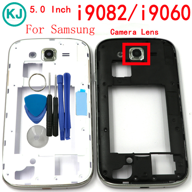 c1708d6c31f Rear I9060 I9082 Middle Frame Housing For Samsung Galaxy Grand Duos i9080 /  Neo i9060i LCD Mid Bezel Plate With Camera lens Tool