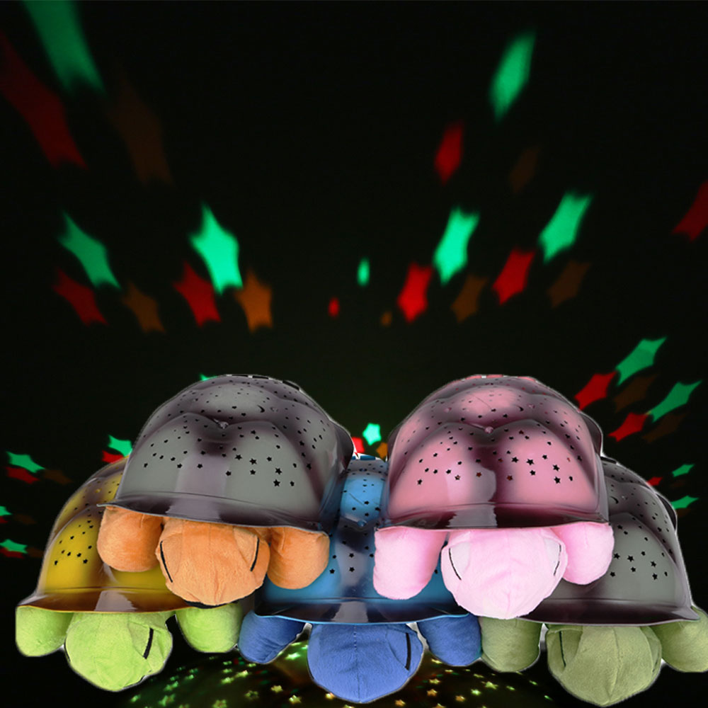 Cute Turtle LED Projector Starry Sky Light Music Play Creative Baby Sleeping Night Lamp Children's Night Light for Bedroom Home