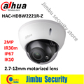DAHUA HDCVI varifocal motorized lens 2.7-12mm1080p camera HAC-HDBW2221R-Z smart IR30M WDR 2MP 1080P security camera IP67