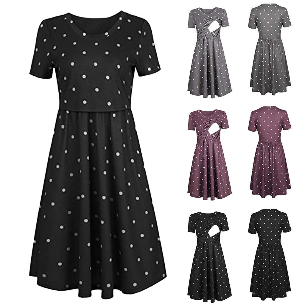 6e602a6b5c983 MUQGEW 2019 maternity dresses Women Pregnant Maternity Nursing Solid ...