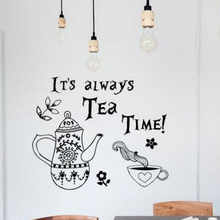 Tea Time Quote Wall Decal Alice in Wonderland Vinyl Stickers Quotes Art Mural Home Decorations  AY1790