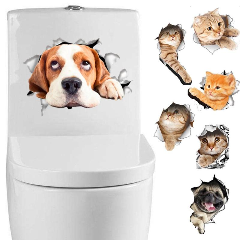 New creative 3D kitten puppy wall Stickers decoration toilet Sticker cover notebook wall stickers Beautiful Ornament 45