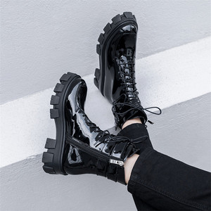 Image 5 - FEDONAS 2020 Winter Warm Punk Cow Patent Leather Women Ankle Boots Lace Up Buckle Short Boots Night Club Party Shoes Woman