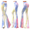 Women Boho Pants Bell Bottom High Waist Stretch Slim Floral Print Flare Pants