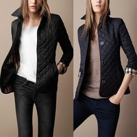 High Quality Autumn Winter Womens Vintage Plaid Slim Wadded Jacket Plus Size Cotton Padded Outerwear Coat