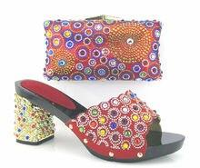 Heißer Verkauf Afrika Passende Schuh-Und Tasche Set Fashion Sommer strass Frauen Schuhe Und Tasche Set Für Party Kleid Rot farbe