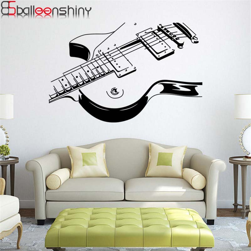 2017 New Art Guitar Wall Stickers DIY Home Decorations Music Wall Decals  Living Room Kids Rooms