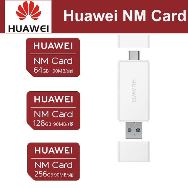 화웨이 나노 메모리 카드 64GB 128GB 256GB 90 메가바이트/초 화웨이 P30 프로 메이트 20 프로 메이트 20 X RS 노바 5 프로 USB 3.1 2 In1 카드 리더