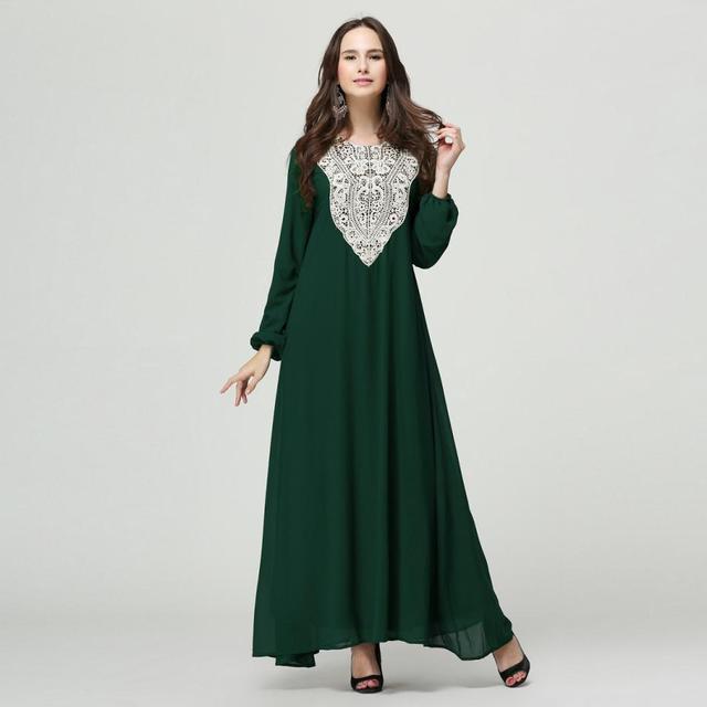 63d29d13aac À Manches longues Maxi Dress Mousseline de Soie Musulman Vêtements Dans Le  Style Ethnique Nouvelle Arrivée