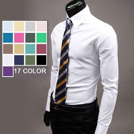 2014 nieuwe lente merk oversize mens luxe casual 17 kleur overhemd slim fit stijlvolle lange mouwen camisa masculina M-3XL