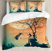 Duvet Cover Set, Spooky Night Zombie Bride and Groom Lady on Swing Under Starry Sky Full Moon, 4 Piece Bedding Set