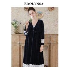 Elegant Robe Gown Sets Autumn Women Sleepwear Dark Blue Bathrobe Lace  Kimono Velvet Sexy Backless Slip Dress Peignoir Sets H718 b217407f6