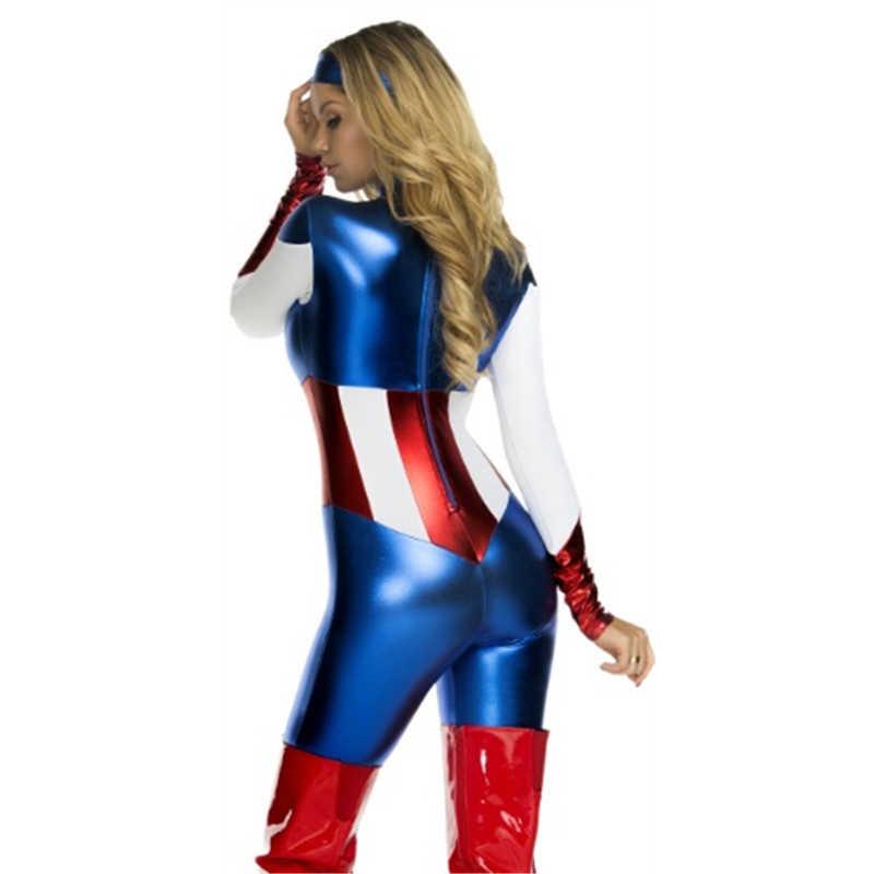 Halloween Captain America Cosplay kostiumy dla dziewczynek Party kobiety superbohaterki gry jednolite Fantasia dorosłych kobiet odzież sportowa