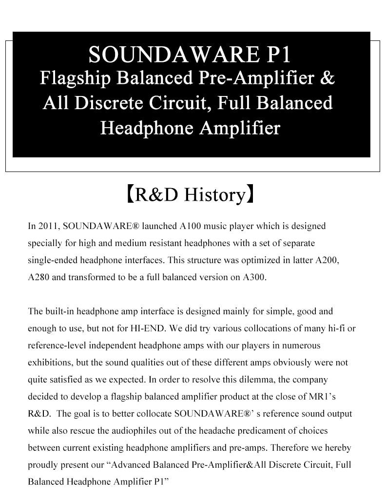 Soundaware P1 Flagship Balanced Pre Amplifier All Discrete Circuit Headphone Design Full Img