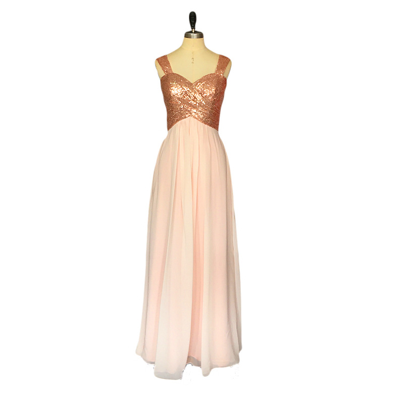 Holievery Capped Sweetheart Chiffon   Bridesmaid     Dresses   for Wedding with Gold Sequins Top 2019 Floor Length Party   Dress