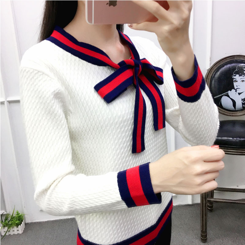 Runway Women Knit Pullovers 2019 Autumn Winter Contrast Color Stripe Sweaters Chic Tie Bow Knitwear Fashion Long-sleeved Sweater