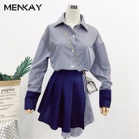 MENKAY 2018 Spring Summer New Pattern Full Sleeve Fake Two Pieces Belt Waist Stitching Blouse