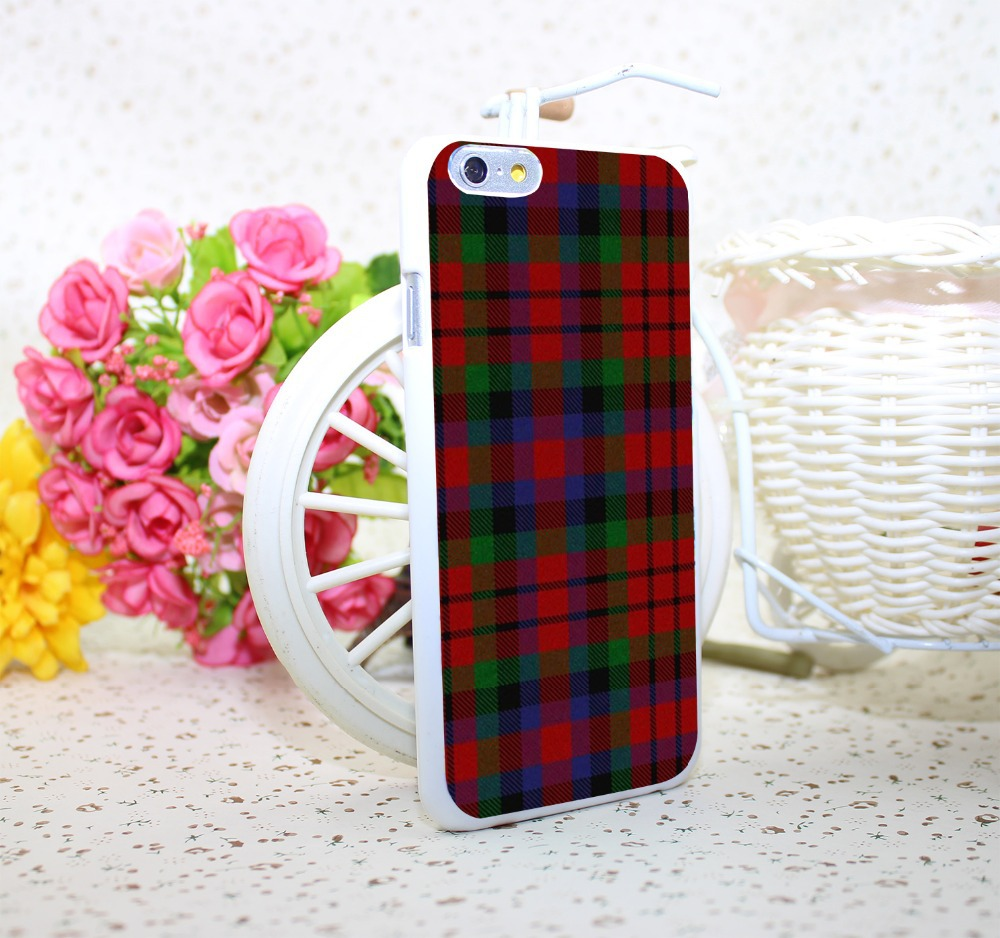 RED BLUE font b TARTAN b font SCARF FASHION White Hard Case Cover for iPhone 6