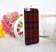 RED BLUE TARTAN SCARF FASHION White Hard Case Cover for iPhone 6 6s plus 5 5s 4 s White Skin Print Series