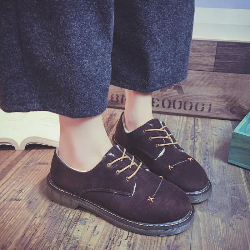 Autumn Winter Warm Padded Cotton Shoes British Style Thick Bottom Women Retro Sewing Bullock Oxford Flock Leather Flats