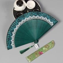 Бамбуковый складной веер, китайский веер, ручной, Шелковый, ручная, китайская живопись, классический, винтажный, для свадебного танца, карманный веер, китайский веер