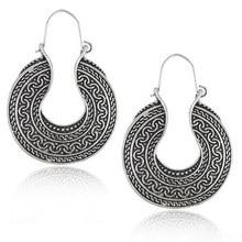 Boho Ethnic Gypsy Big Round Drop Earrings Vintage Tibetan Statement Hanging Earring For Women Tribe Indian Jewelry Pendientes