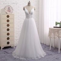 Bohemian Beach Wedding Dresses Spaghetti Straps Pure White Ruched Tulle 2016 Simple Style Fairy Bridal