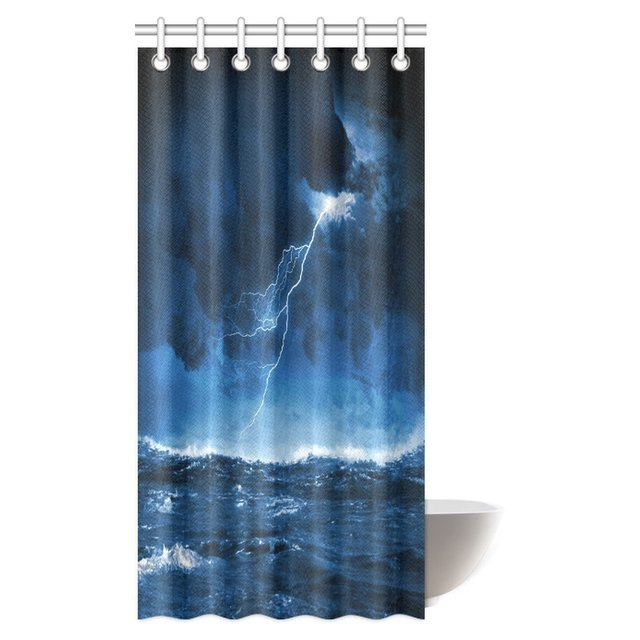 Aplysia Nautical Shower Curtain Night Stormy Sea With Big Waves And Lightning Fabric Bathroom Curtains